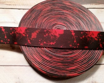 Horror ribbon, Blood Splatter, Grosgrain Ribbon