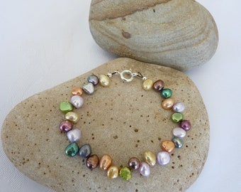 Multi Coloured Baroque Freshwater Pearl Bracelet 6.5 to 8.5 Inches Scottish
