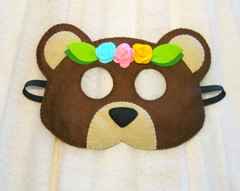 Bear mask for girl brown felt roses blossom handmade soft dress up play accessory kids adults photo props Theatre roleplay Party favor