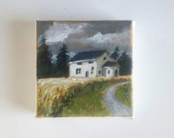original acrylic painting, landscape painting, small painting, sky painting, 4x4 painting, acrylics on canvas, mini art
