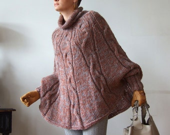 Hand knitted poncho  braided cape sweater, avant garde traffic stoper, hottest trend. fall fashion, fall foliage, copper and gray melange