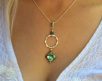 abalone pendant, abalone necklace, abalone jewelry, silver hoop, abalone and silver