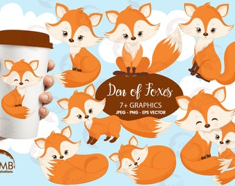 Fox clip art, Cute fox clipart, Fox love clipart, mother and baby fox, forest creatures, forest critters, commercial use, AMB-1346