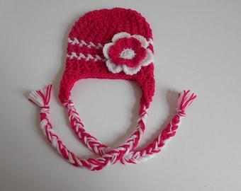 baby girl fuchsia hand-knitted Beanie hat and white