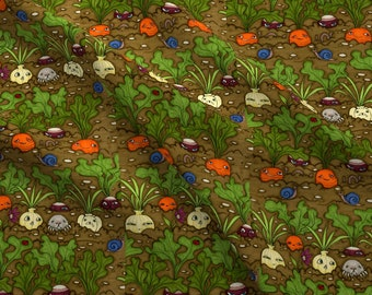 Vegetable Garden Friends Fabric - The Gardenizens By Ceanirminger - Garden Veggies Faces Crop Row Cotton Fabric By The Yard With Spoonflower