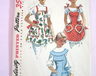 Vintage Simplicity Full Apron Sewing Pattern - 1950s