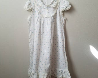Vintage Girls White and Blue Floral Long Gown with Lace Trim - Size 2/3 - Handmade