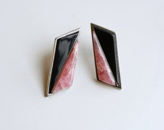 1960s vintage Navajo sterling onyx and rhodochrosite inlay earrings / 60s Native American artist signed pierced silver / geometric stone