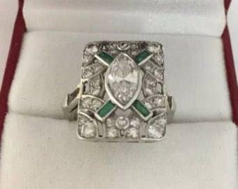 Vintage Platinum Diamond and Emerald Engagement - Dinner Ring
