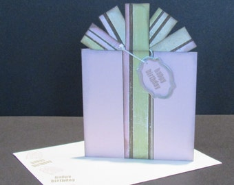 Birthday Present Card - Gift Card / Money Holder - Pink