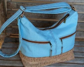 Cork Handbag, Hobo Crossbody Bag, Blue Hobo Bag, Blue Handbag, Hosta Hobo, Cross Body Bag, Canvas Handbag, Blue Purse
