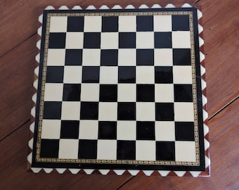 Vintage Inlaid Wood Chess/Checker Board Small Size