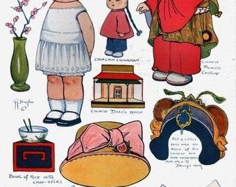 E-Pattern Vintage Dolly Dingle Paper Doll And Cross Stitch Pattern 7