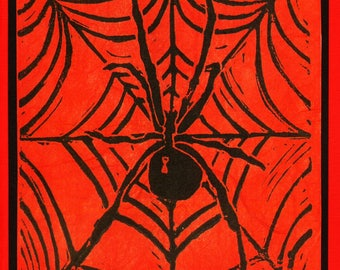 5 Handmade Spider Linocut Cards (Red)