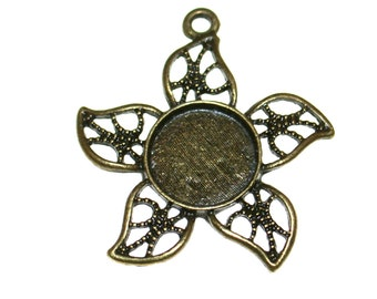 Qty. 3 Filigree Ant. Brass Star Pendants - Fits 12mm Cab