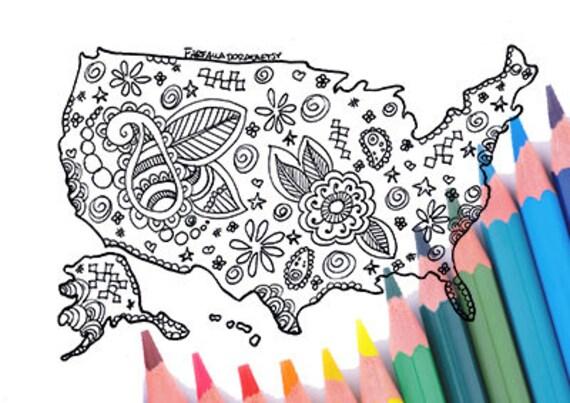 Stati uniti mappa usa america pagina da colorare adulti - Mappa messico mappa da colorare pagina ...