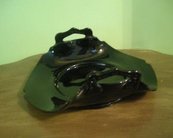 Vintage Black Glass Plate With Handles Camebridge Glass Display