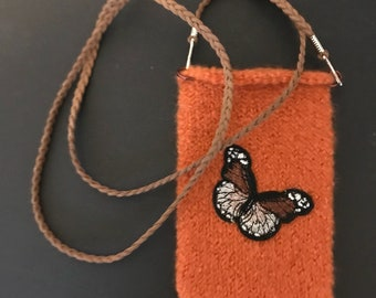 cross body felted bag, orange with butterfly