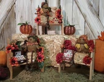 Fall Decor, Autumn Decor, Miniature Wooden Decor, FALL FAIR Handmade Miniature Wooden Fall Autumn Bench Decorations