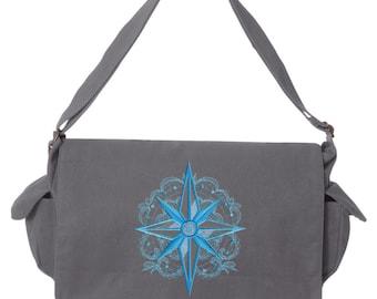 Aquarius - Compass Embroidered Canvas Cotton Messenger Bag