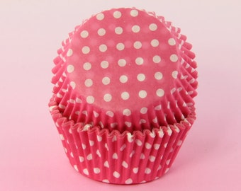 Pink and White Cupcake Liners Polka Dot, 2'' Standard Size, Baking Cups