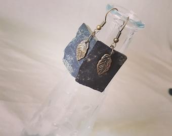 Earring in Slate and bronze. Leaf, Slate, Bronze, handmade craft.