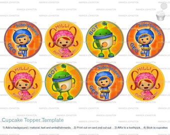 Team Umizoomi Cupcake Toppers (Instant Download)