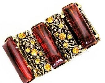 Selro Amber and Golden Topaz 2 Inch Wide Cuff Bracelet