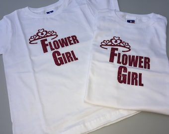 Flower girl t-shirt, flower girl top, flower girl gift, personalised flower girl tshirt, bridesmaid t-shirt, bridesmaid gift, bridesmaid
