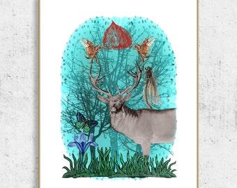 fantasy prints, animal art print, fantasy printables, fantasy animals, coronation of deer, printable wall art, digital download printable