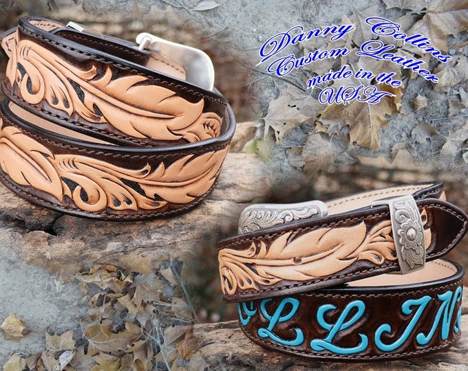 Tooled leather belts, Tooled Feather Belts, Hand Tooled Feather Belts