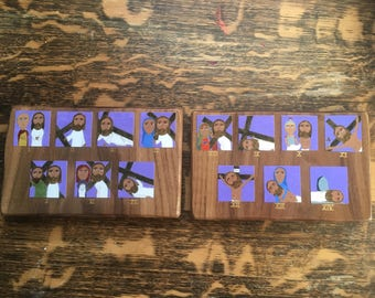 Full set of Stations of the Cross on Walnut in Byzantine Folk icon style