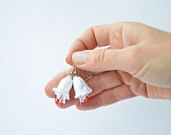 Bellflower Earrings, Christmas Earrings, Crochet Jewelry, White Dangle Earrings, Beaded Earrings, Beadwork Jewelry, Women's Gift