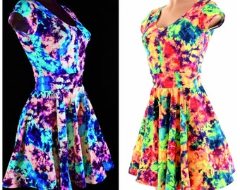 Acid Splash UV Glow Cap Sleeve Fit and Flare Skater Skate Dress Rave Festival Clubwear - 154087