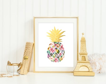 Pineapple Floral Printable, INSTANT DOWNLOAD, Flower Pineapple Wall Art, Pineapple Poster, Pineapples, Faux Gold Foil, Pineapple Print