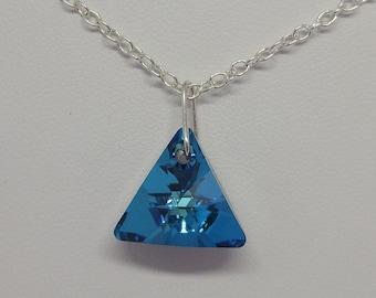 Sterling Silver Swarovski Crystal Bermuda Triangle Necklace