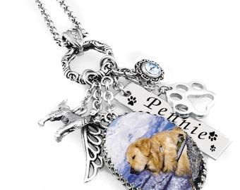 Dog Memorial Jewelry, Dog Memorial Necklace, Personalized Pet Memorial Necklace, Pet Remembrance Necklace, Loss Of Pet
