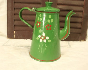 Green Enamel Teapot Hinged lid Hand Painted Enamel Tea Pot