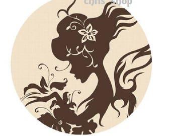 25mm cabochon pretty woman (silhouette)