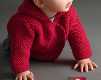 Hooded Coat Baby Boy Knits, Toddler Knit Coat, Newborn Knit Coat, Newborn to all Toddler sizes