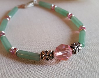 Pink and Green Bracelet of Swarovski and Anenturine
