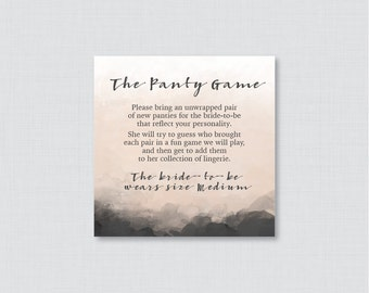 Modern Panty Game - Printable Black and Nude Panty Game Card AND Sign - Lingerie Shower Game, Bachelorette Party Game, Modern Charcoal 0009