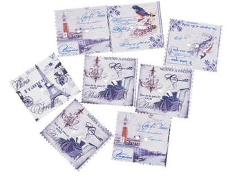 large buttons faux postage stamps (cities in Europe) 30mmx33mm 2 holes
