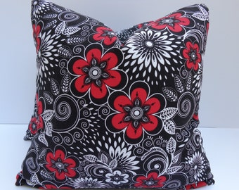 Modern Floral Pillow Covers One Pair 16 x 16 Handmade Red White and Black Pillows Home Decor Decortive Throw Pillows Floral Pillows