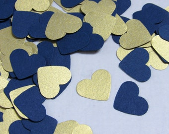 Navy Blue Heart Confetti - Shimmery Gold Paper Hearts - Shimmery Gold Confetti - Navy Blue Wedding Decor