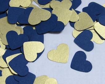 Navy blue wedding etsy navy blue heart confetti shimmery gold paper hearts shimmery gold confetti navy blue junglespirit Images
