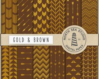 BUY5FOR8 Gold Digital Paper Gold Arrows Paper Brown Backgrounds Digital Scrapbooking 12 JPG 300 DPI Files Download
