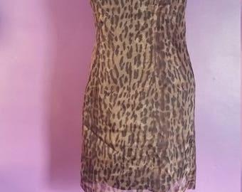 Vintage 80's Leopard Print Dress Size 5/6