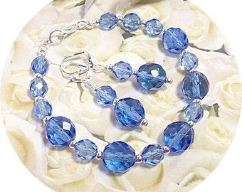Bridesmaid Jewelry Blue, Sapphire Blue, Mother of the Groom, Bridesmaid Jewelry, Blue Jewelry Set, Bracelet, Earrings, Blue Wedding, Summer