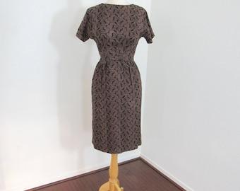 Unusual 1950s Cocoa & Black Cotton Eyelet Wiggle Dress in Butterfly Pattern